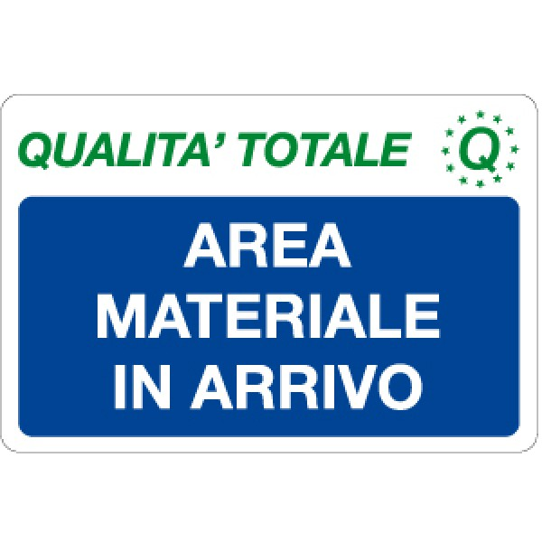 Cartello in alluminio formato mm 300x200 area materiale in arrivo