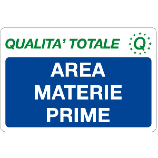 Cartello in alluminio formato mm 300x200 area materie prime