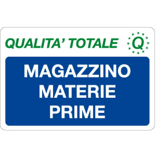 Cartello in alluminio formato mm 300x200 magazzino materie prime