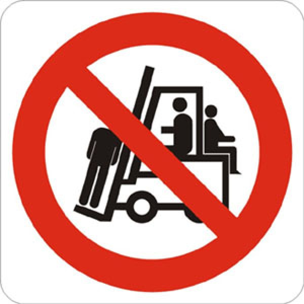 Cartello in alluminio formato mm 330 pittogramma vietato trasportare o sollevare persone