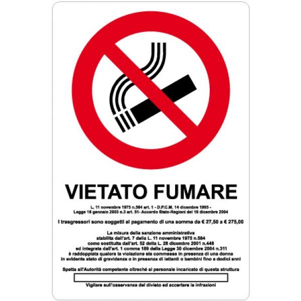 Cartello in alluminio formato mm 200x300 vietato fumare con legge (1257a)