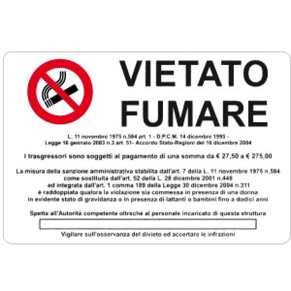 Cartello in alluminio formato mm 300x200 vietato fumare con legge