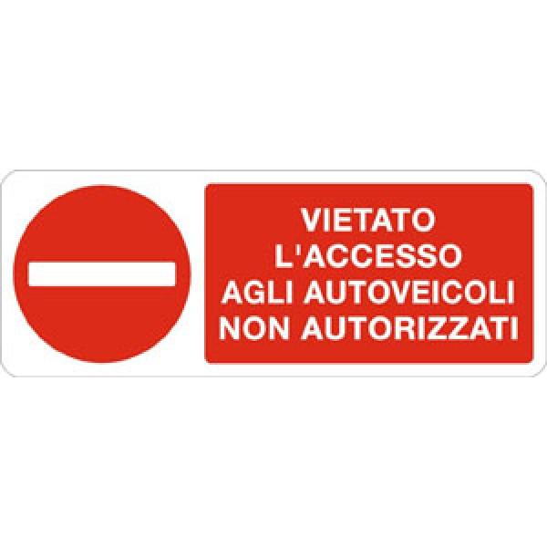 Cartello in alluminio formato mm 330x125 vietato l'acc a autoveic non aut