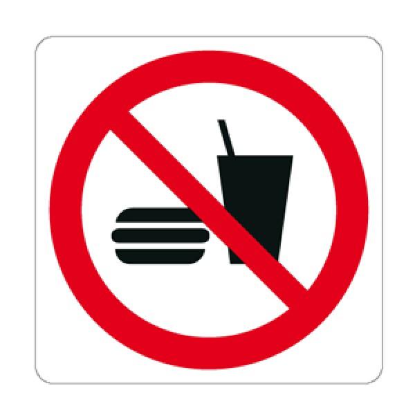 Cartello in alluminio lato mm 125 pittogramma vietato mangiare bere