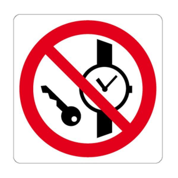 Cartello in alluminio lato mm 125 pittogramma vietato oggetti metallici