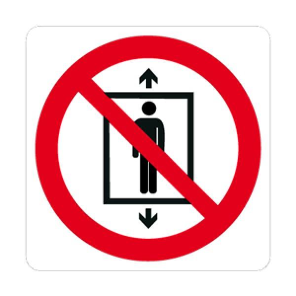 Cartello in alluminio lato mm 125 pittogramma vietato uso ascensore