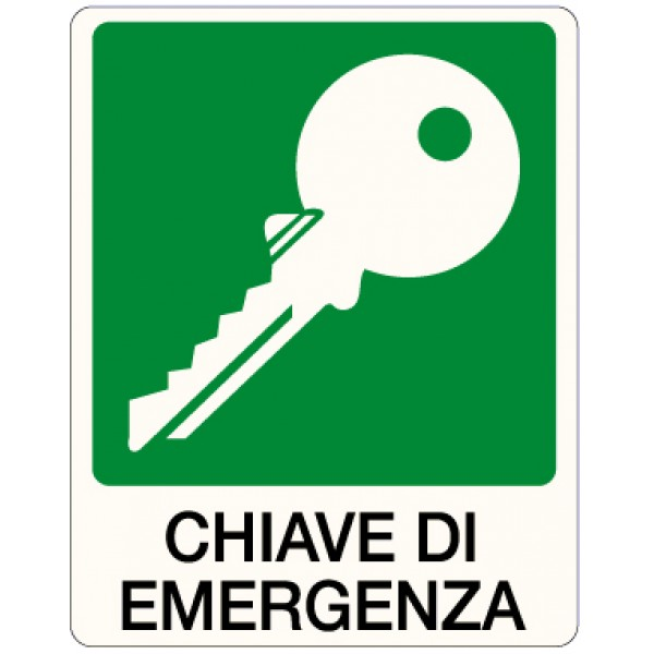 Cartello in alluminio formato mm 250x310 chiave di emergenza