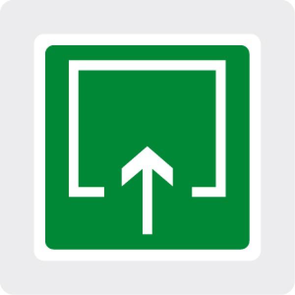 Etichetta autoadesiva lato mm 120 pittogramma luogo sicuro