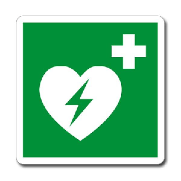 Cartello in alluminio lato mm 250 pittogramma defibrillatore di emergen