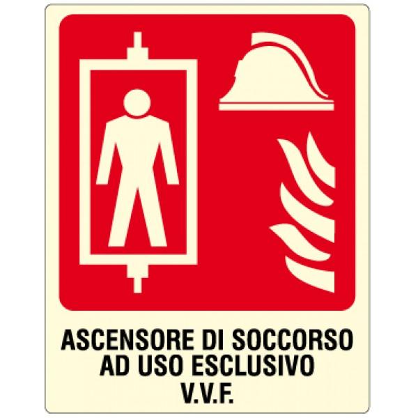 Cartello in alluminio formato mm 250x310 luminescente ascensore soccorso uso escluso v.v.f.