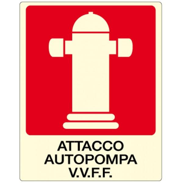 Cartello in alluminio formato mm 250x310 luminescente attacco autopompa v.v.f.f.