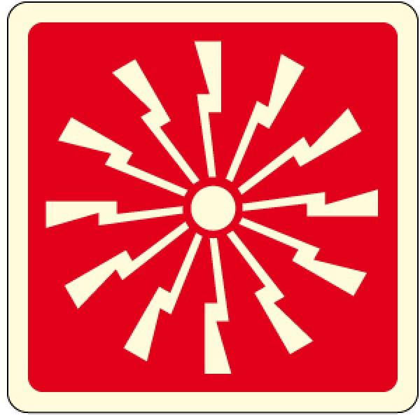Cartello in alluminio formato mm 120 luminescente pittogramma sirena allarme incendio