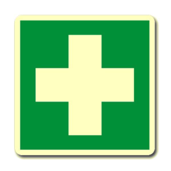 Cartello in alluminio formato mm 160x210 luminescente cassetta di medicazione