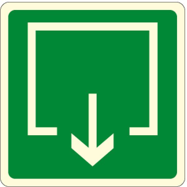 Etichetta autoadesiva lato mm 120 luminescente pittogramma uscita