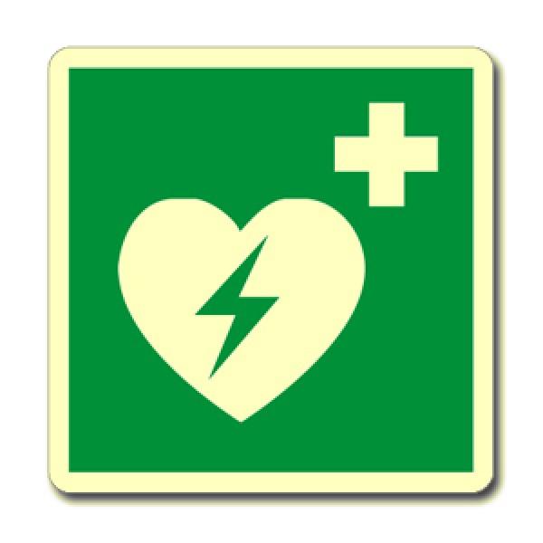 Cartello in alluminio lato mm 250 luminescente pittogramma defibrillarore emergenza