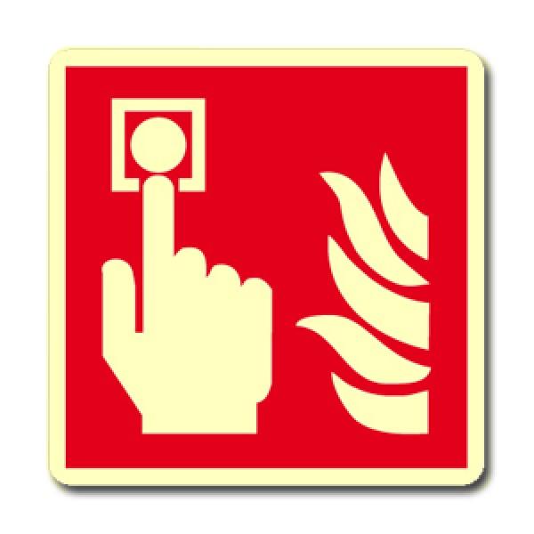 Cartello in alluminio lato mm 400 luminescente pittogramma pulsante allarme incendio