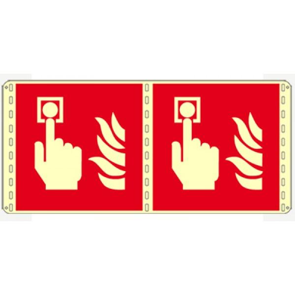 Cartello in alluminio formato mm 250x310 luminescente bifacciale allarme incendio