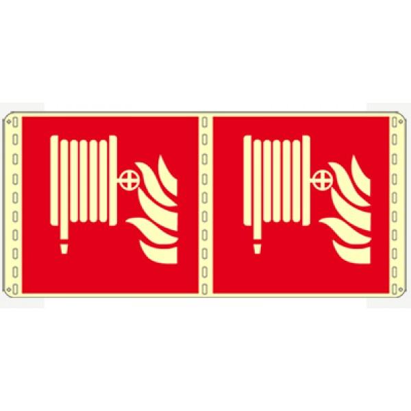 Cartello in alluminio formato mm 250x310 luminescente bifacciale lancia antincendio