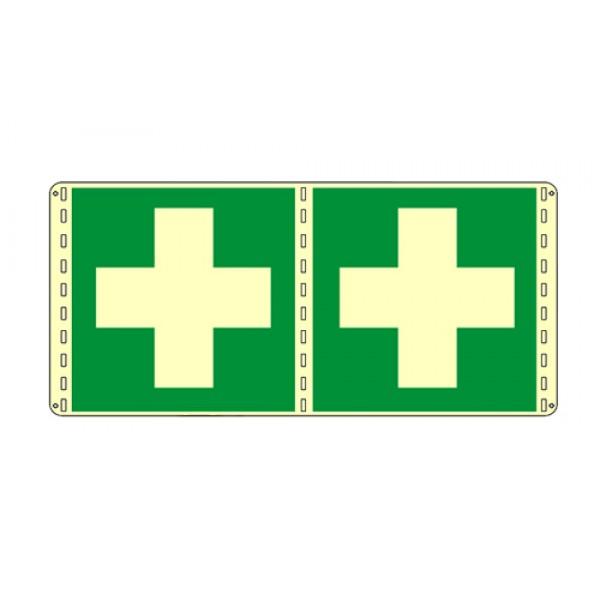 Cartello in alluminio formato mm 120x150 luminescente bifacciale cassetta di medicazione