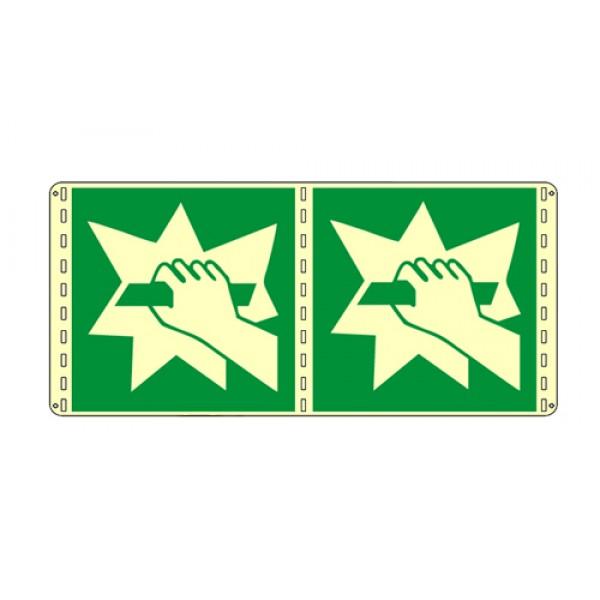 Cartello in alluminio formato mm 120x150 luminescente bifacciale rompere in caso di emerge