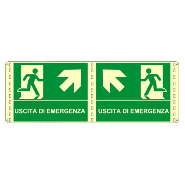 Cartello in alluminio formato mm 210x160 luminescente bifacciale uscita emergenza alto sx
