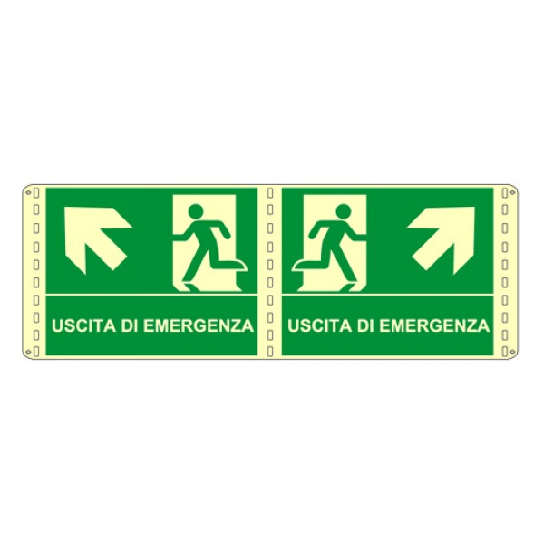 Cartello in alluminio formato mm 210x160 luminescente bifaciale uscta emergenza alto dx