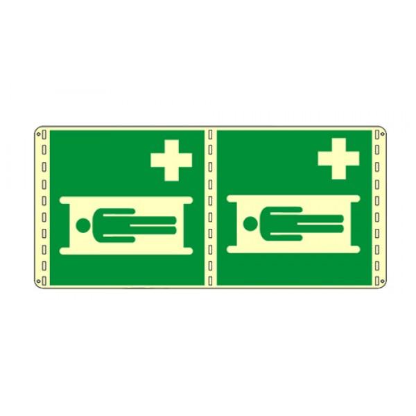 Cartello in alluminio formato mm 250x310 luminescente bifacciale barella di pro soccorso