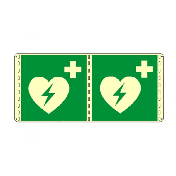 Cartello in alluminio formato mm 250x310 luminescente bifacciale defibrillatore
