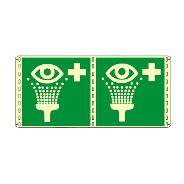 Cartello in alluminio formato mm 250x310 luminescente bifacciale lavaocchi di emergenza