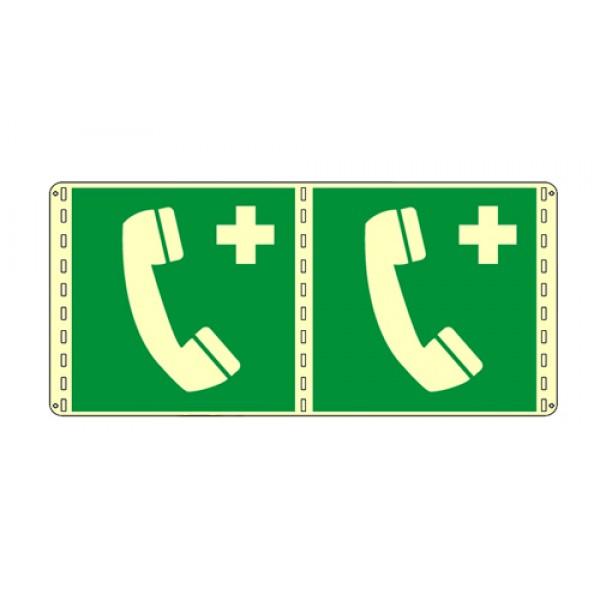 Cartello in alluminio formato mm 250x310 luminescente bifacciale telefono di emergenza