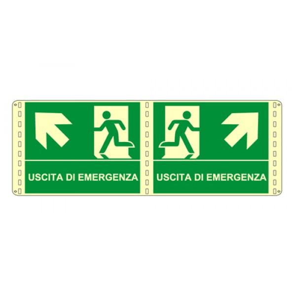 Cartello in alluminio formato mm 250x310 luminescente bifacciale uscita emergenza alto dx
