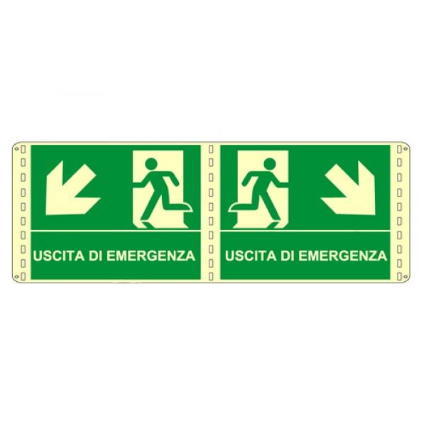 Cartello in alluminio formato mm 250x310 luminescente bifacciale uscita emergenza basso dx