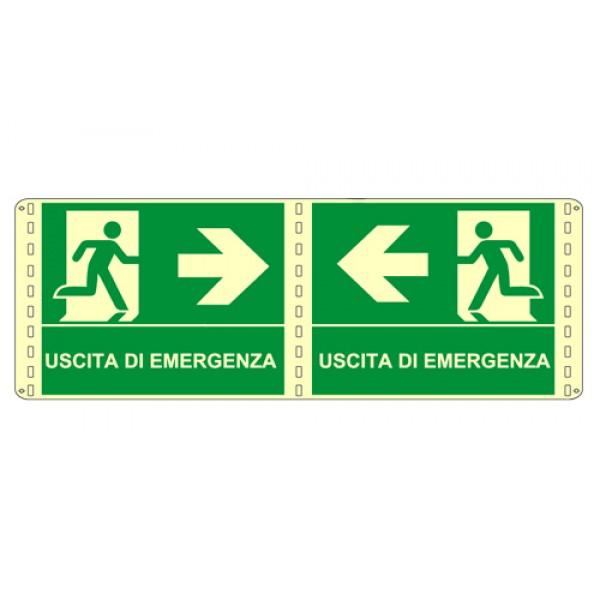 Cartello in alluminio formato mm 250x310 luminescente bifacciale uscita emergenza sx