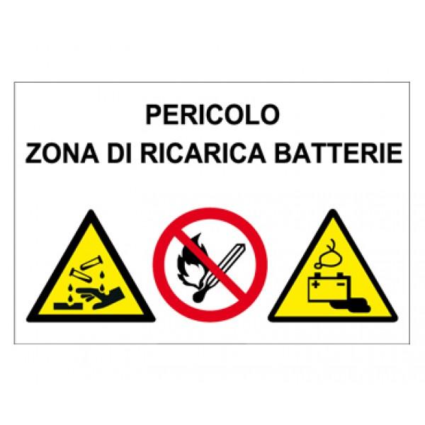 Cartello in alluminio formato mm 300x200 multisimbolo pericolo zona ricarica batterie