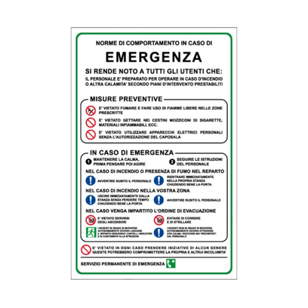 Cartello in alluminio formato mm 330x500 norme comportamento in caso emergenza