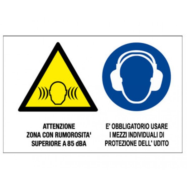 Cartello in alluminio formato mm 500x330 multisimbolo attenzione zona rumoros