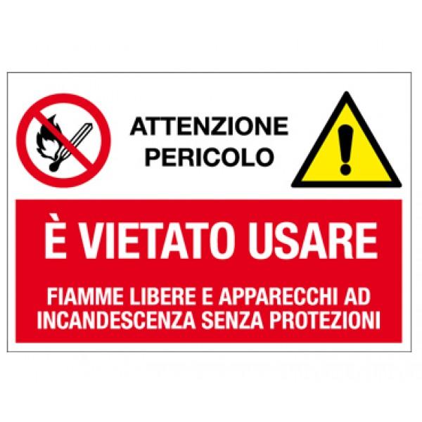 Cartello in alluminio formato mm 500x330 multisimbolo vietato uso f.l.