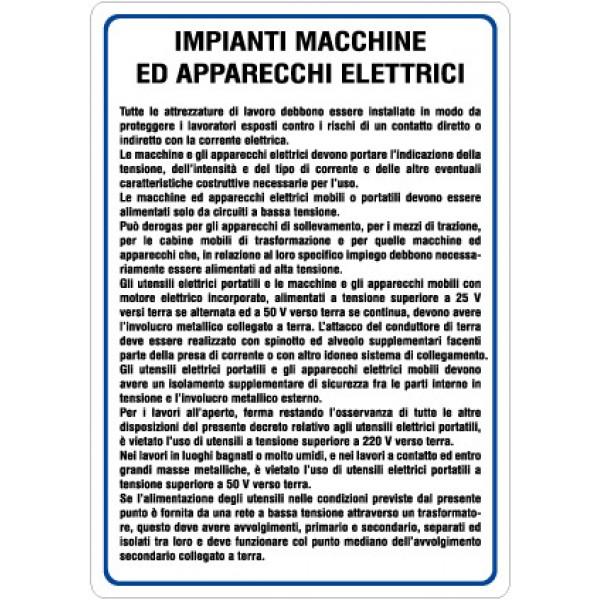 Cartello in alluminio formato mm 330x470 impianti macchinari e apparati elettrici