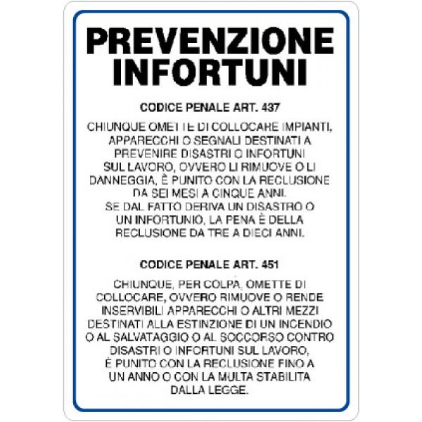 Cartello in alluminio formato mm 330x470 norma prevenzione infortuni