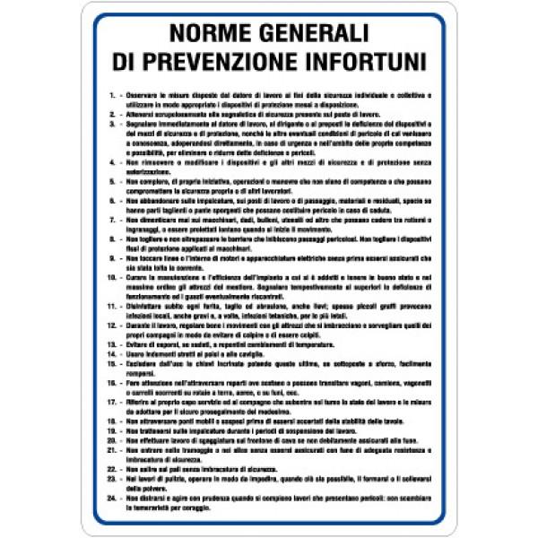 Cartello in alluminio formato mm 330x470 norme generali di prevenzione infortuni
