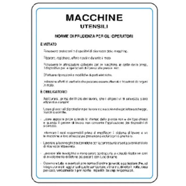 Cartello in alluminio formato mm 330x470 norme macchine utensili