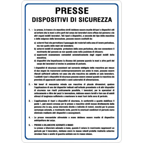 Cartello in alluminio formato mm 330x470 presse disp.sicurezza