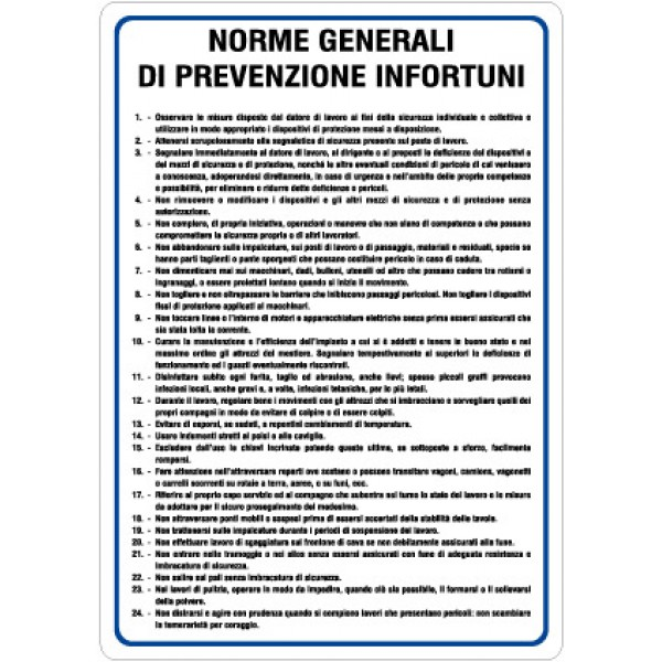 Cartello in alluminio formato mm 500x660 norme generali di prevenzione infortuni