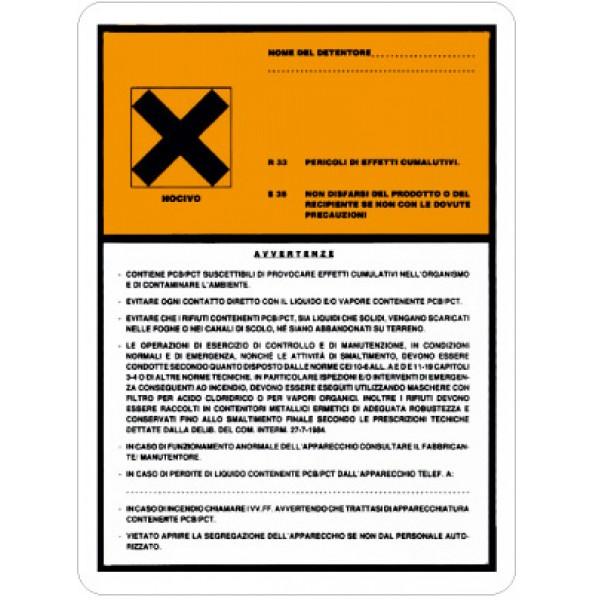Etichetta autoadesiva formato mm 170x230 contiene pcp/pct