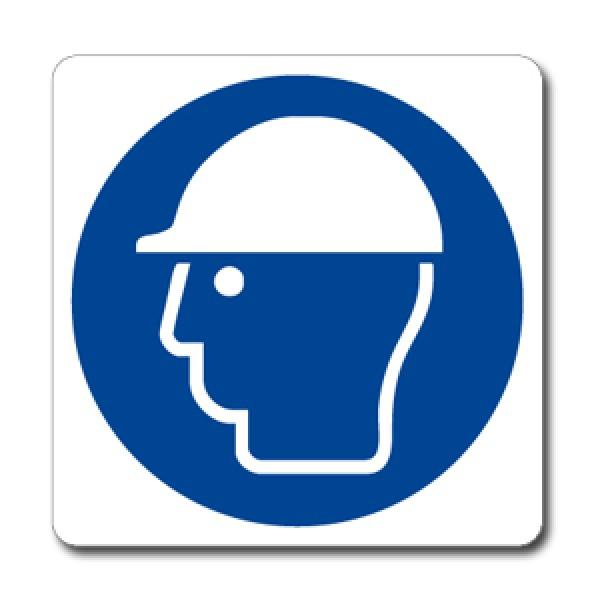 Cartello in alluminio formato mm 330x500 indossare casco protettivo