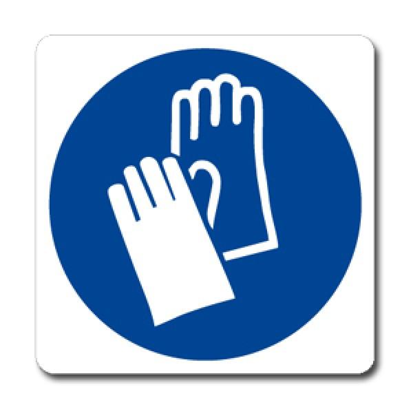 Cartello in alluminio formato mm 330x500 indossare guanti protettivi