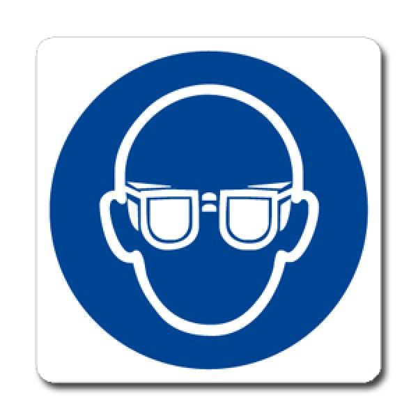 Cartello in alluminio formato mm 330x500 indossare occhiali protettivi