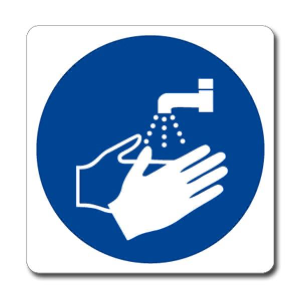 Cartello in alluminio lato mm 125 pittogramma lavarsi mani