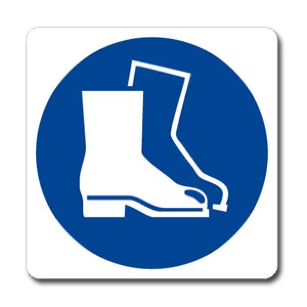 Cartello in alluminio lato mm 125 pittogramma protezione piedi