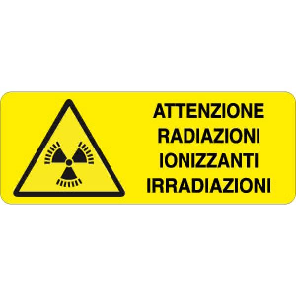 Cartello in alluminio formato mm 330x125 attenzione radiazioni ionizzanti irradiazioni
